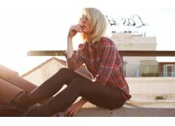 Alysha Nett,人物,金发,看着观众,城市的,涂指甲,女性,女人,美女,