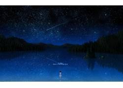 动漫,比黑色更暗,幻想艺术,明星,动漫女孩,动漫,天空35706图片