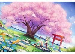 动漫,初音未来,VOCALOID,树木,动漫女孩,动漫73004图片