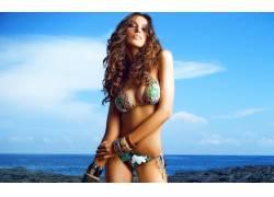 M?d?lina Diana Ghenea,女性,女人,美女,比基尼泳装,黑发,卷发,