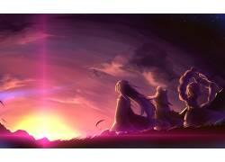 动漫,东方,日落,Yasaka Kanako,动漫64382图片