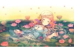动漫,交叉,动漫女孩,闭着眼睛,原始人物,花卉,动漫61161图片
