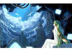 动漫,动漫,初音未来,VOCALOID,废墟,电力线路,动漫女孩61972图片