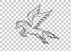 马飞马绘图,飞马PNG剪贴画白色,哺乳动物,单色,脊椎动物,野生动物图片