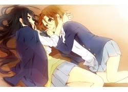 动漫,动漫,动漫女孩,躺着,校服,女学生,秋山M,K-ON,Tainaka Ritsu图片