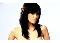 黑发,看着观众,女性,女人,美女,长发,简单的背景,Vikki吹12713