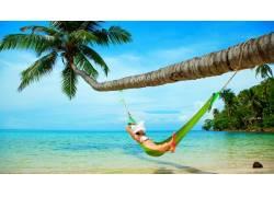 海滩,吊床,棕榈树,热带,女性,女人,美女,帽子59607