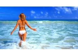 海滩,比基尼泳装,海,女性,女人,美女,金发69169