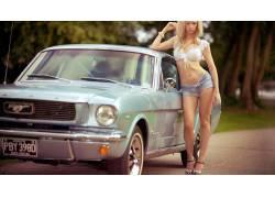 福特野马,短裤,刺穿肚脐,通过衣服乳头,女性,女人,美女,金发,黛西