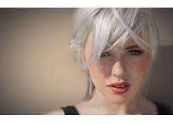 德文翡翠,雀斑,看着观众,面对,人物,白色的头发,模特,美女5196