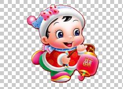 中国新年卡通福,可爱的福娃PNG剪贴画孩子,蹒跚学步,生日快乐图片