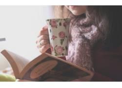 黑发,图书,花的,围巾,杯子,模特,美女33680