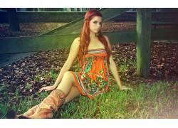 红发,卡罗琳凯特,女性,女人,美女,户外的女靴子,长发,人物36971