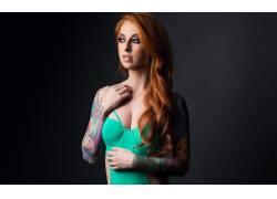 红发,女性,女人,美女,游泳衣,黥,人物,长发,简单的背景,张开嘴,女