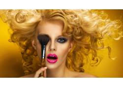 化妆,女性,女人,美女,面对,人物,金发,卷发,口红4688