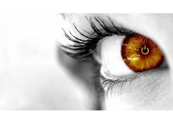 华美,眼睛,特写,选择性着色,数字艺术,模特,美女23584