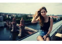 莉娜迈耶兰德鲁特,歌手,女性,女人,美女,德语,市容,牛仔短裤,户外