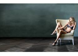 金发,女用贴身内衣裤,女性,女人,美女,人物,椅子,腿70273