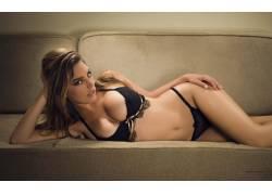 凯莉布鲁克,女用贴身内衣裤,长椅,看着观众,胸部,女性,女人,美女,