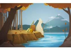 动漫,钓鱼,森林,湖,艺术品,画画,向量,极简主义,数字艺术,幻想艺图片