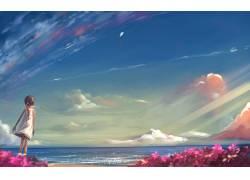 动漫,动漫,景观,性质,天空,动漫女孩,云,海39590图片