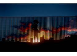 动漫,动漫,景观,日落,动漫女孩,市,太阳,天空,云,阳光,篱笆,轮廓4图片
