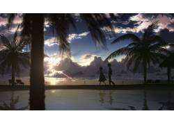 动漫,动漫,景观,棕榈树,天空,动漫男孩,动漫女孩,海,阳光40798图片