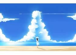 动漫,动漫女孩,海滩,人,动漫,天空,云,飞机62348图片