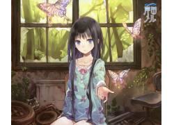 动漫,动漫女孩,蝴蝶43084图片