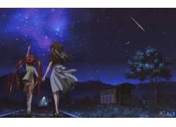 动漫,动漫,晚,明星,流星,空气(动漫),动漫女孩47765图片