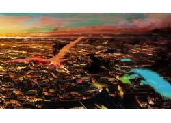 动漫,动漫,艺术品,幻想艺术,市,精神,鸟类62575图片