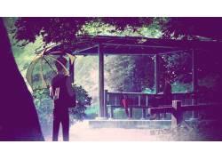 动漫,动漫,艺术品,雨,花园,词的花园,雨伞,树木62576图片