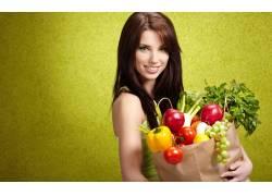 女性,女人,美女,黑发,水果,袋,人物,微笑,简单的背景4758