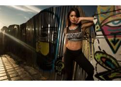 女性,女人,美女,黑发,涂鸦,户外的女城市的,看着观众,人物20943