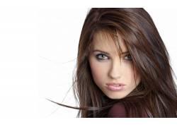 女性,女人,美女,黑发,简单的背景,看着观众,白色背景,长发,面对16