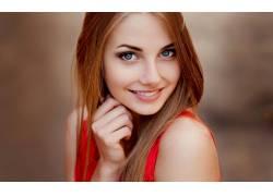 女性,女人,美女,黑发,蓝眼睛,面对,人物,肖像,微笑,看着观众70454
