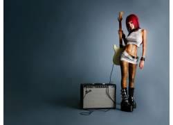 女性,女人,美女,吉他,靴子,肚皮,音乐家,乐器,胸部,红发16724