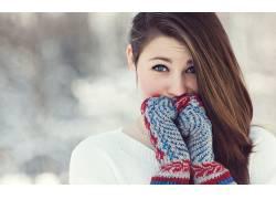 女性,女人,美女,户外的女手套,面对,冷,看着观众22596