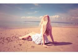 女性,女人,美女,金发,海滩,砂,长发,户外的女景深,人物,连衣裙,白