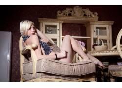 女性,女人,美女,金发,看着观众,椅子,腿,人物38255
