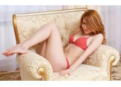女性,女人,美女,红发,腿,脚,Dariya A,气象 - 艺术,椅子,胸罩,红