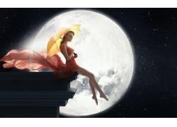 女性,女人,美女,金发,雨伞,腿,照片处理,月亮65702