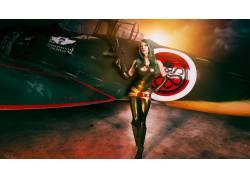 女性,女人,美女,角色扮演,人物,枪,飞机,紧身衣,Hydra(漫画),有