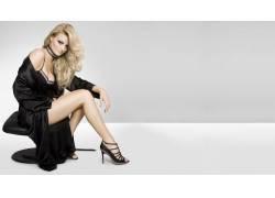 女性,女人,美女,金发,高跟鞋,胸罩,腿,长袍,简单的背景,Shera Bec