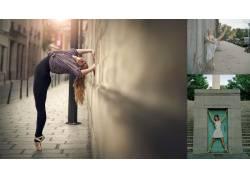 城市的,芭蕾舞演员,拉伸,户外的女大学,金发,芭蕾舞鞋108230图片