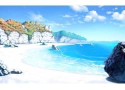动漫,画画,景观,海,海滩,砂,天空,岩,滨,艺术品,云13677图片