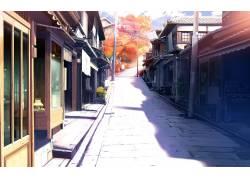 动漫,画画,景观,路,市,建筑,秋季,动漫13684图片