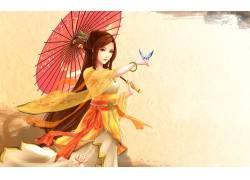 动漫,动漫女孩,雨伞,蝴蝶,数字艺术43076图片