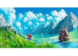 动漫,吉卜力工作室,哈尔的移动城堡,山,动漫,景观40835图片