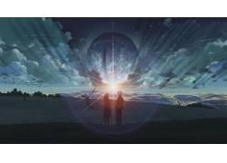 动漫,每秒5厘米,动漫,动漫女孩,景观,日落,云,行星,天空54661图片